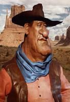 John Wayne by wooden-horse