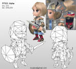 Lowpoly Ashe wireframe by Pyroxene