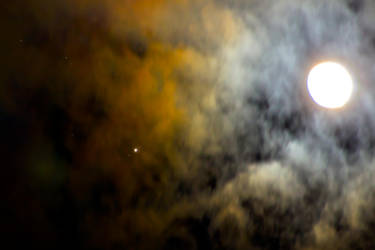 Moon and Jupiter Moons Clouds DistortionII by WerdGhana