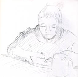 Ashley playing a DS by marr0w