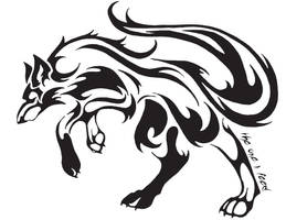 Tribal Wolf Tattoo by Mireille-rae