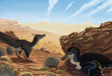 Velociraptor pair by Promilie