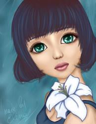 Girl with a flower by elen21nele
