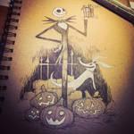 jack skellington inktober sketch by BrianKesinger