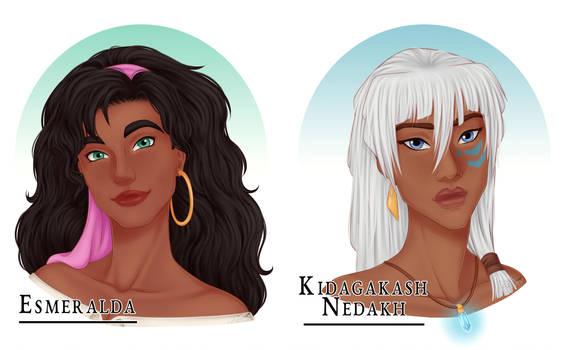 Disney Portraits: Esmeralda + Kida by SSSoto