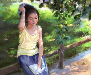 under the apple tree by monicakuo