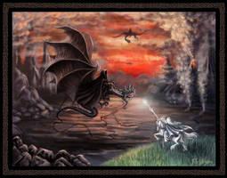 The Wizard drives away Nazguls by Araniart