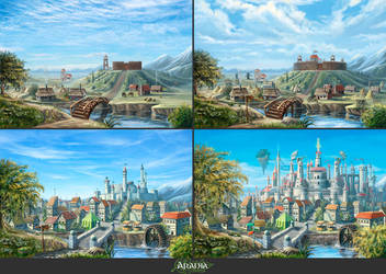 Fantasy village by Araniart