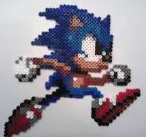 Fuse Bead Sonic the Hedgehog by ProbonoBear