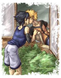 sasunaru - window kiss by askerian