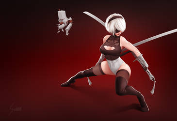 2B from Nier: Automata, Swimsuit Alt by EverHobbes