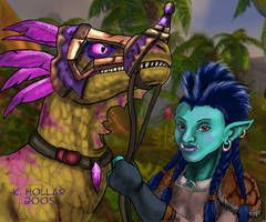 A troll and her raptor - WoW by NetRaptor