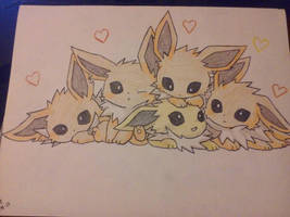 So Cute- Jolteons by AquaCrush