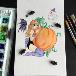 #Inktober 2 Pumpkin Sweets and Treats by Ephourita