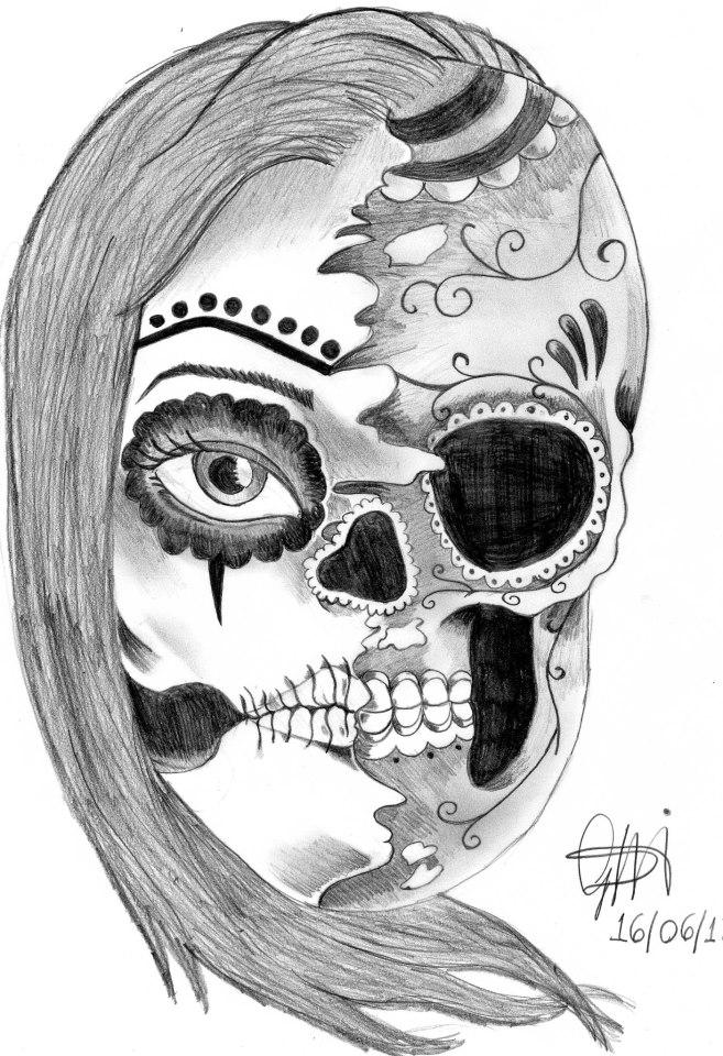 Half Skull Woman By Gmncory On Deviantart