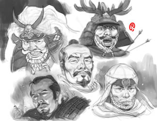 Sketchbook - Samurai Heads by Changinghand