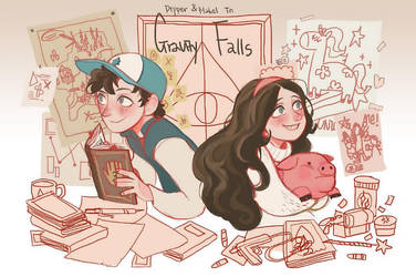 Dipper and Mabel by imamong