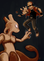 Red vs. Mewtwo by omurizer