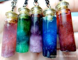 Mini Nebula Necklaces by birdsoup
