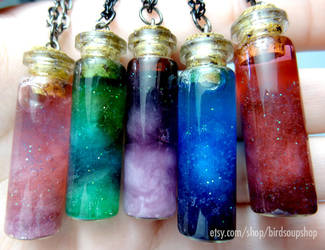 Mini Nebula Necklaces by birdsoup
