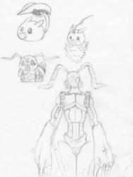 Leafmon to Stingmon sketches by AnimeRascal
