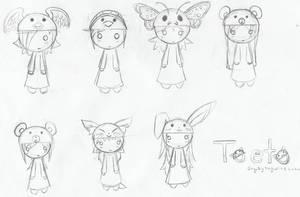 Toeto- fyed OCs by AnimeRascal