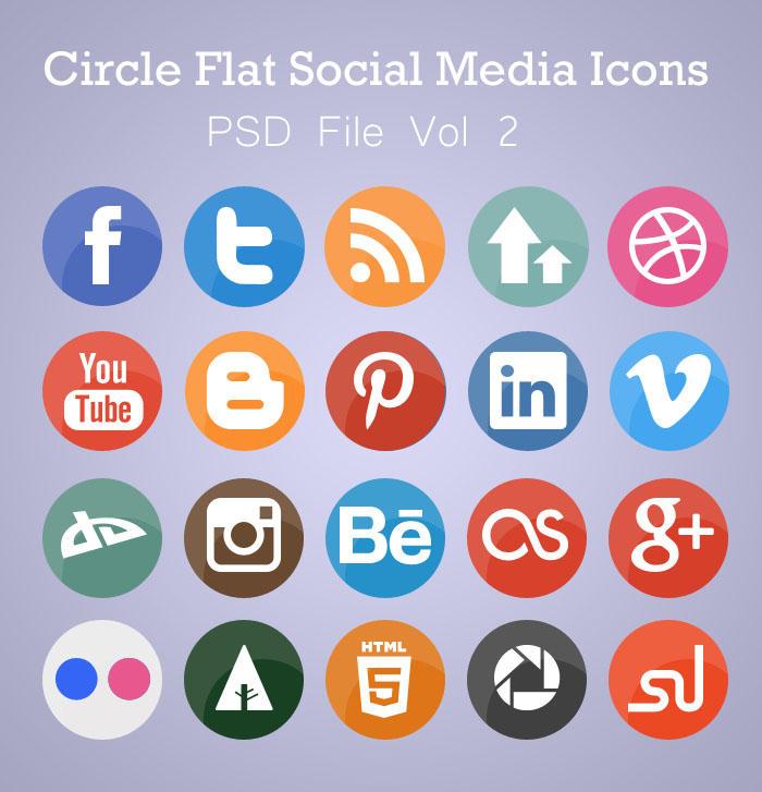 Free Flat Circle Social Media Icons (PSD) by AinsleyB