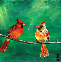 Cardinal Pair by ThisArtToBeYours