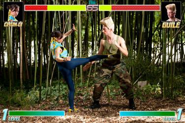 Chun-Li and Guile Fight by gstqfashions