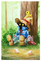 Final Fantasy IX fanart Vivi and Chocobo by aliphelps