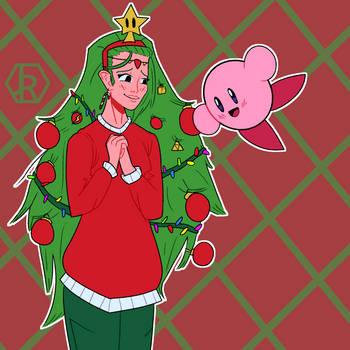 Kirby thought Palutena's hair was a Christmas tree by JR-Jayquaza
