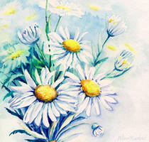 Daisies Flowers Bouquet by Alina-Kurbiel