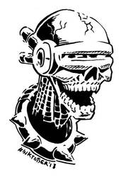 Inktober 2018, Day 6: Cyber-Skull by spacehamster