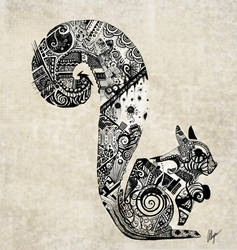 zentangle Squirrel by somethinkindepth