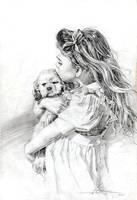 little girl pencil by cklum