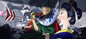 One Piece 914 Zoro Jirou saves O-Tsuru Wano Arrow by Amanomoon