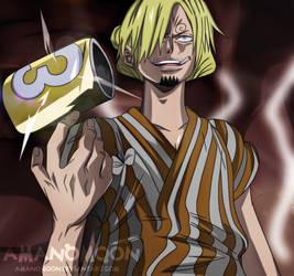 One Piece 930 Sanji Raid Suit vs Page One X Drake  by Amanomoon