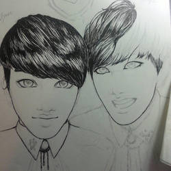 Inktober 2 BamBam and J-hope -progress- by Awesome9000