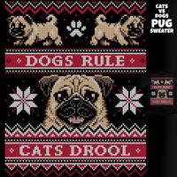 Pug Sweater - Cats VS Dogs tee by InfinityWave