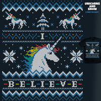 Unicorns and Snow - sweater tee by InfinityWave