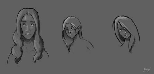 Study faces by Juliusz-Cezar-Tupacz