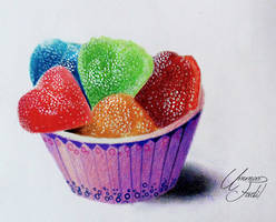 Sugar Candies in a paper cup -  Colored pencils by f-a-d-i-l
