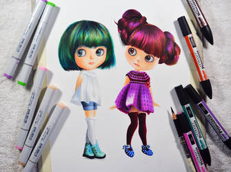 Blythe dolls -- Copic sketch and promarkers. by f-a-d-i-l