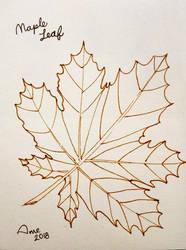 Inktober 2018 - 01 Maple Leaf by mieame
