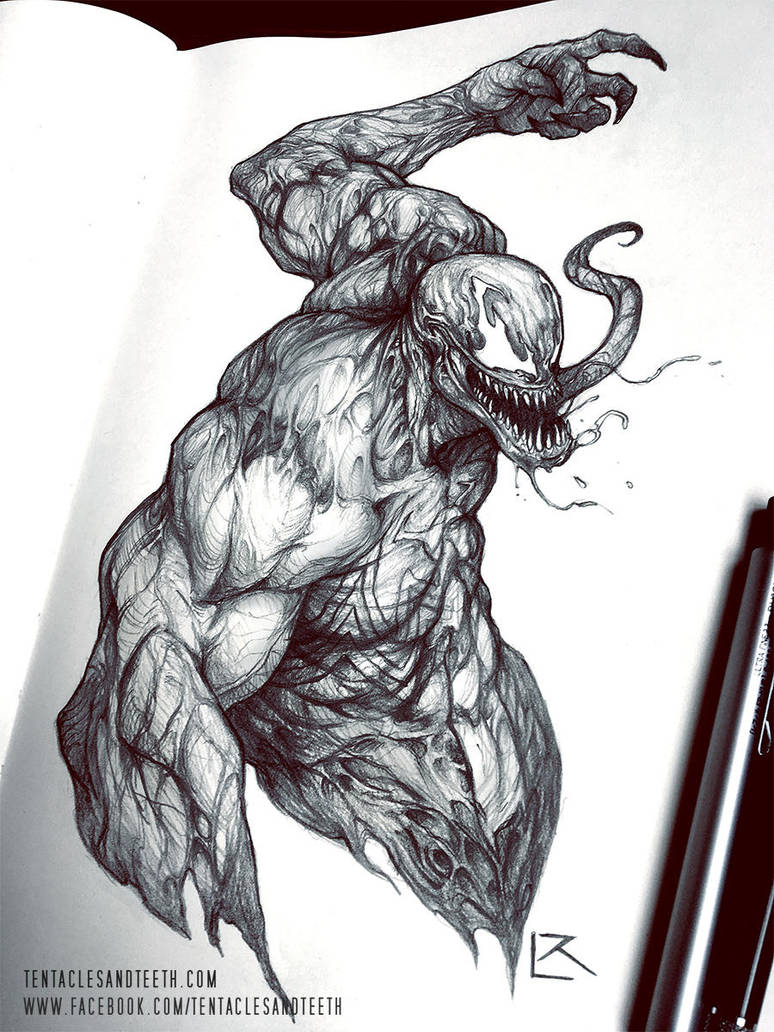 Venom Spiderman Drawing Venom Drawing b...