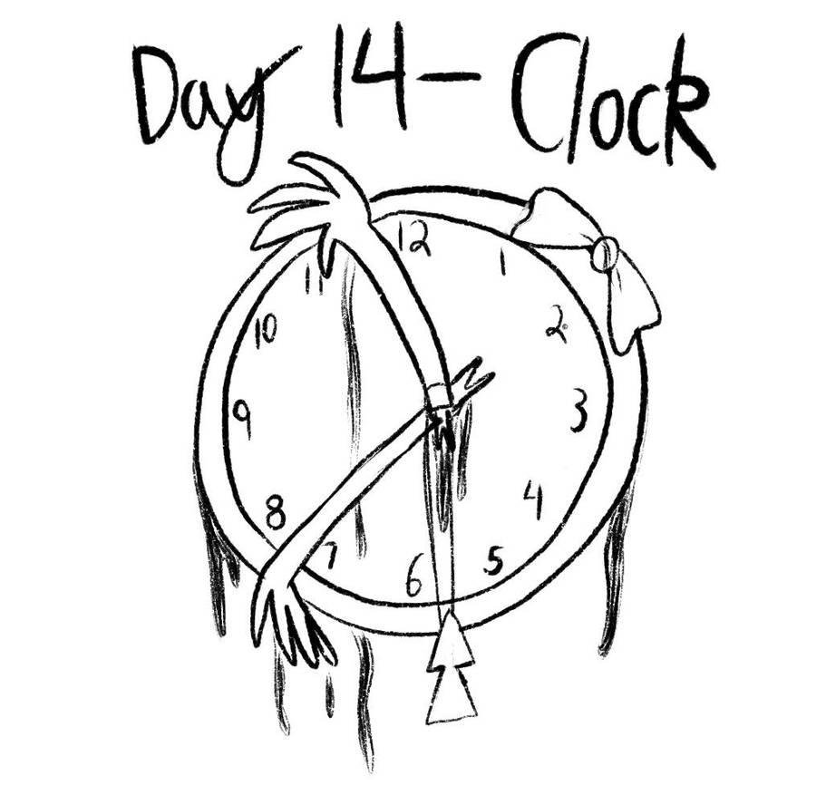 Inktober - Day 14 - Clock of Death by Midnight-Lovestruck