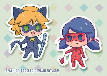 Miraculous Ladybug - Chibi Chat Noir and Ladybug by ayashige-doodles