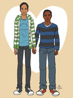 Animated Troy and Abed! by Xinjay