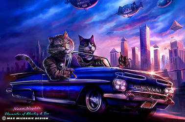 Driving to Cat City from my comic Blueboy and Tim. by mizza88