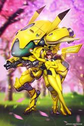 06/4/ D.Va Pokemon style /commission/ by AyyaSAP